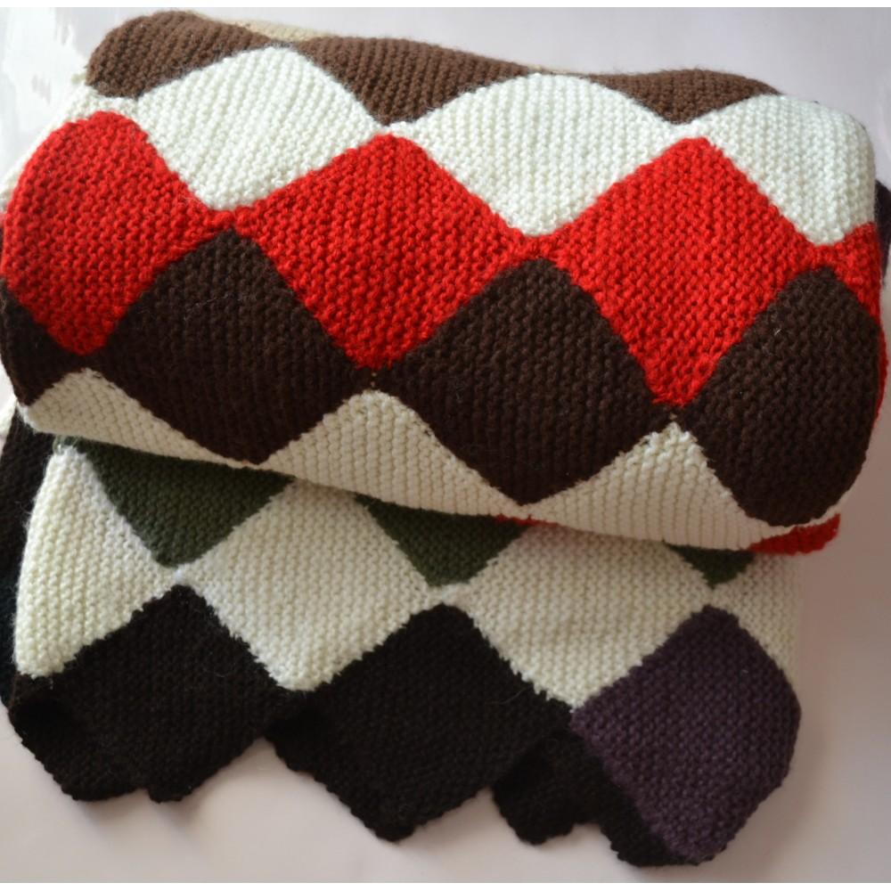 Plaid Fatto Ai Ferri dettagli su copriletto / coperta lana ai ferri 220x210