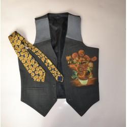 GILET UOMO Tg. 46 GIRASOLI Van Gogh + Cravatta