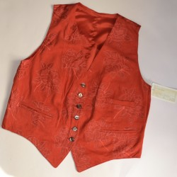GILET  tg.44 DONNA PELLE ROSSO
